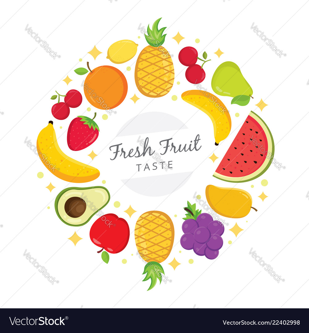 Fresh fruit taste background Royalty Vector Image 1000x1080