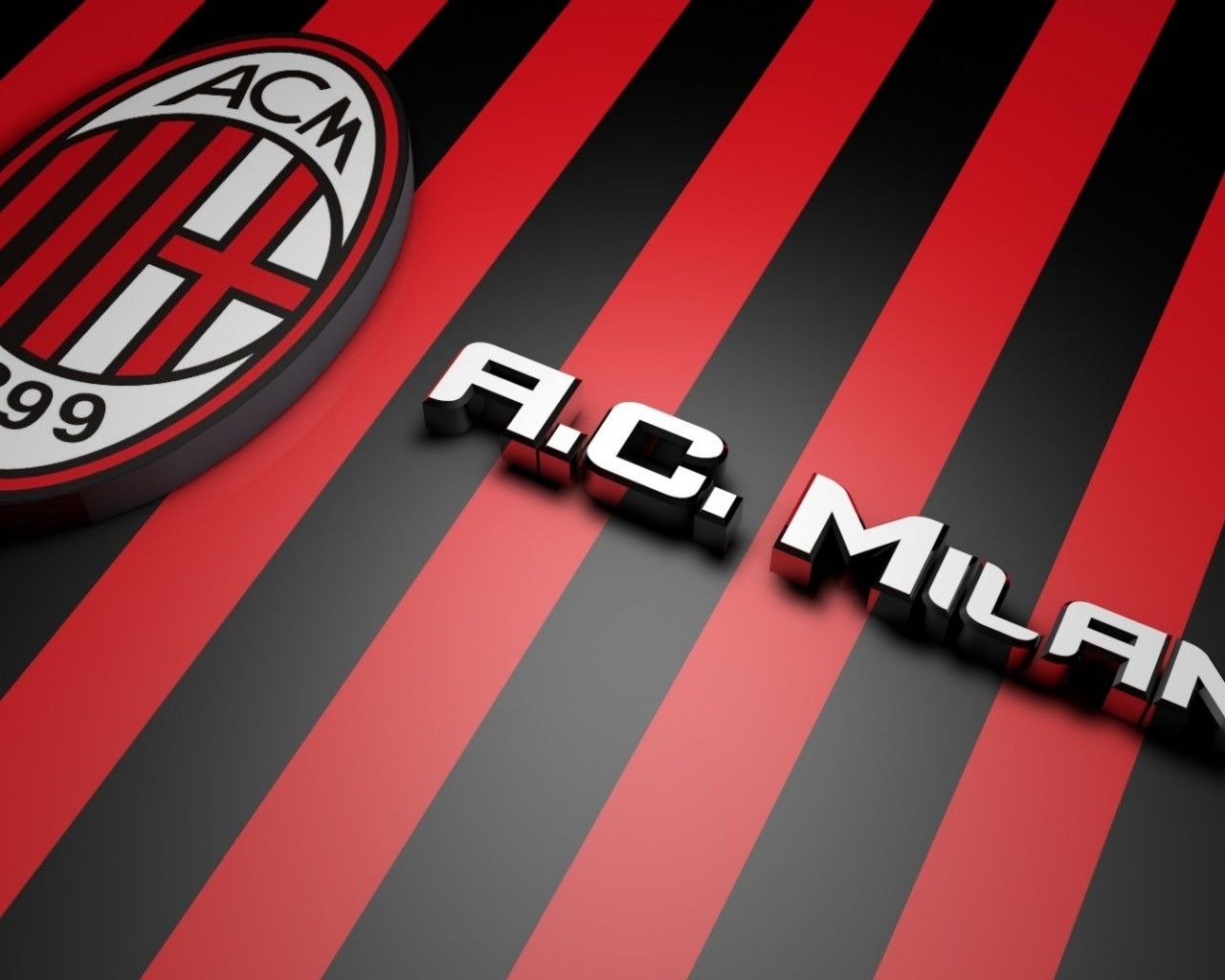 AC Milan 2014 3D Logo Wallpaper Wide or HD 3D Wallpapers 1280x1024