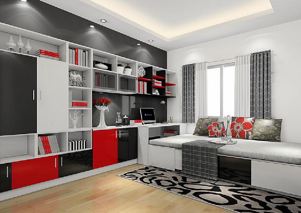 Canadian study room decoration bookcase 3D 3D house 3D house 1034x733