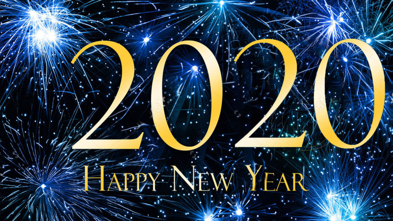 Happy New Year 2020 Blue Hd Wallpaper For Laptop And Tablet 1366x768