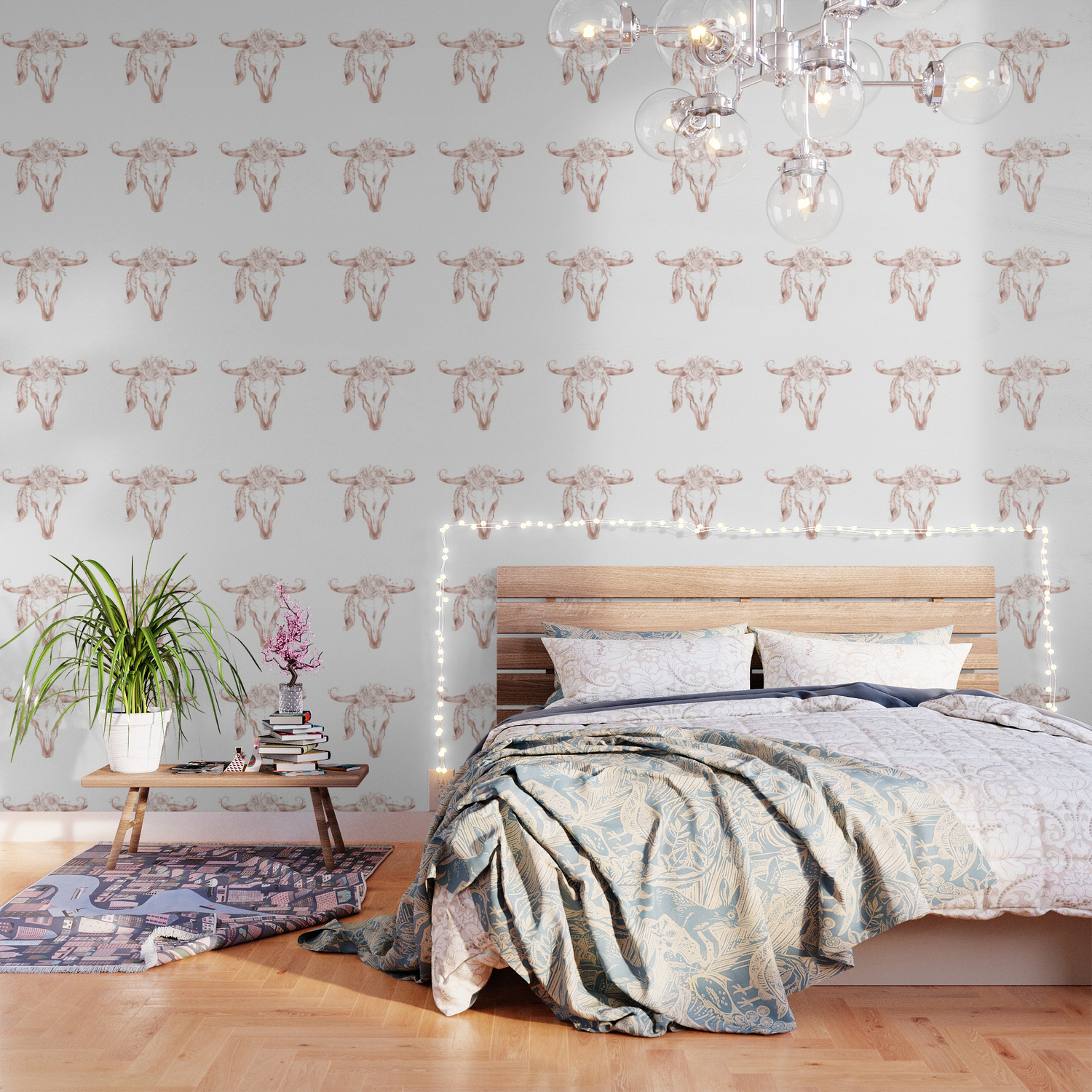 Rose Gold Bull Skull with Pink Feather Flowers Wallpaper by 1500x1500