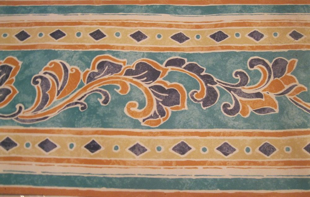 Wallpaper Border Abstract Scroll Teal Tan Teal Blue Beige Navy Wall 1000x637