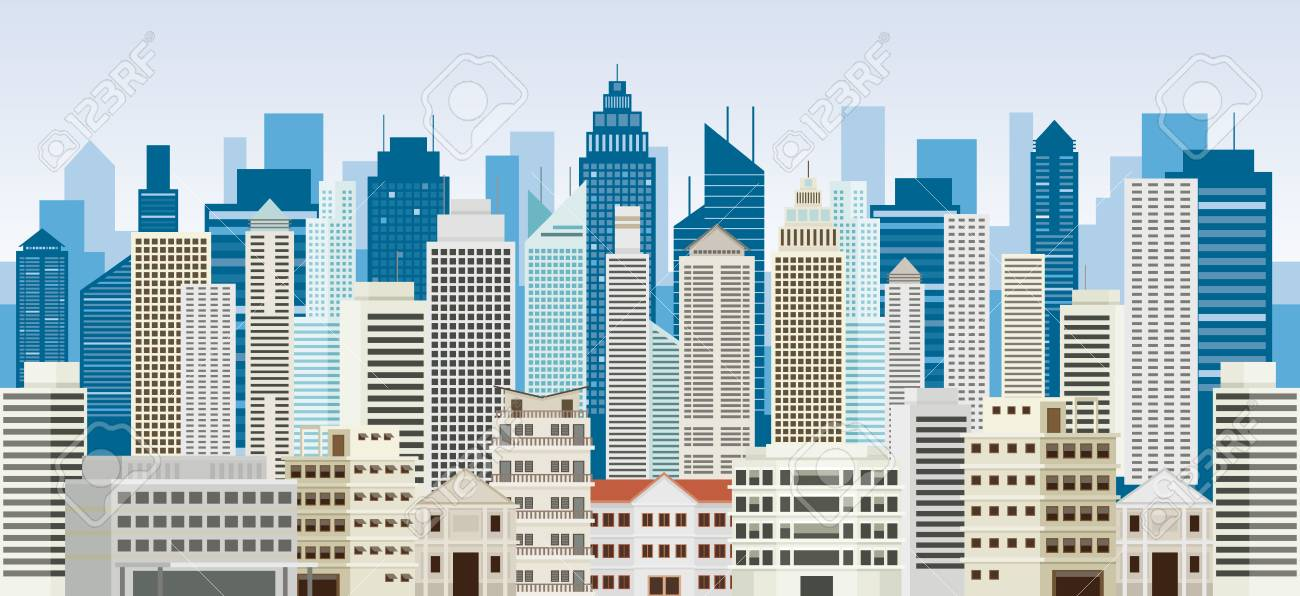 Buildings And Skyscrapers Background Panorama Cityscape City 1300x596