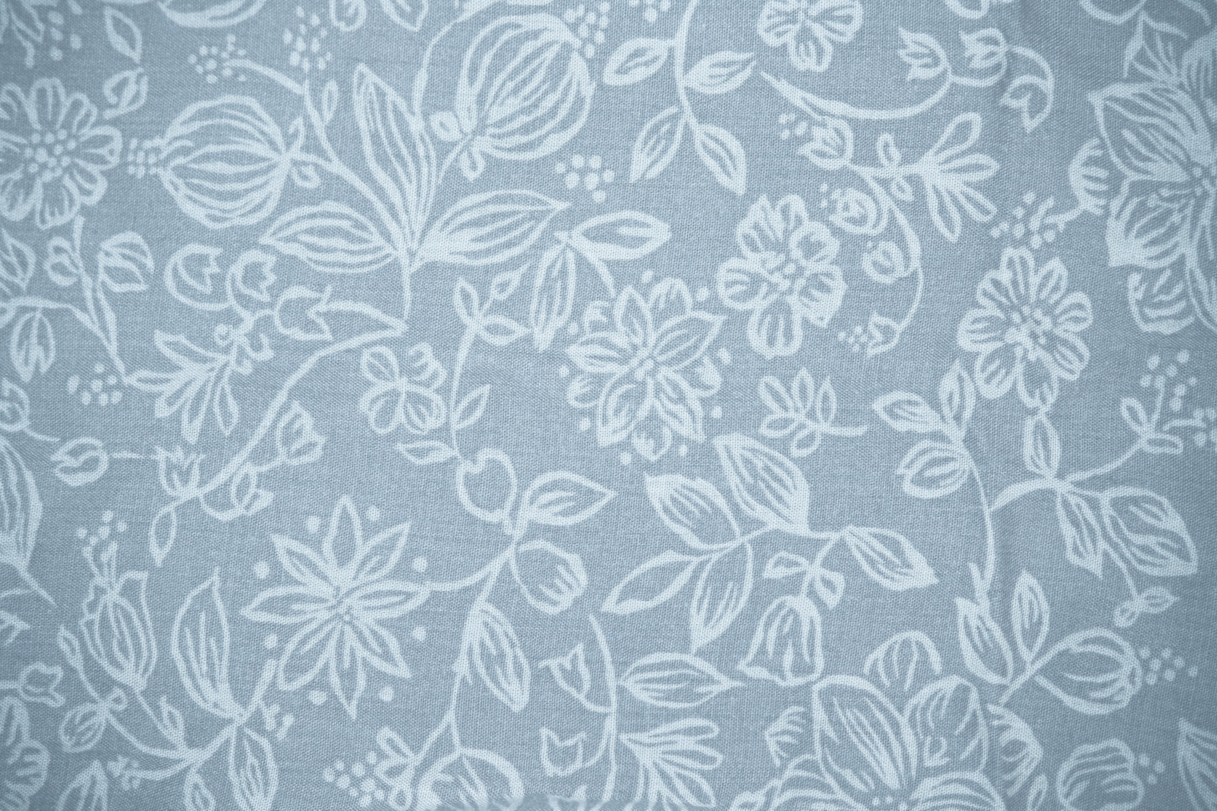 Blue Gray Fabric with Floral Pattern Texture Picture Photograph 3888x2592