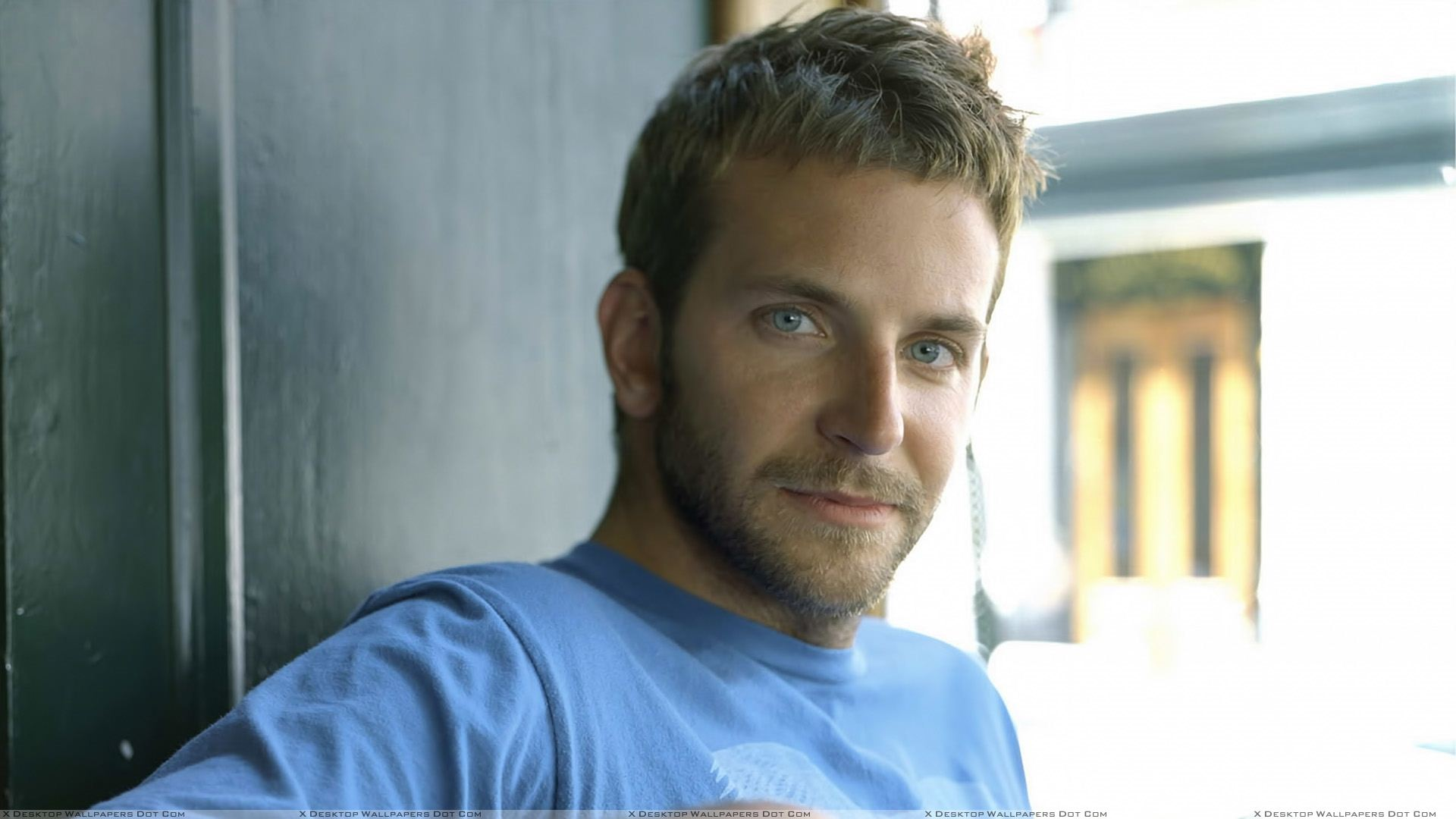 Bradley Cooper In Blue T Shirt Looking At Camera Wallpaper 1920x1080