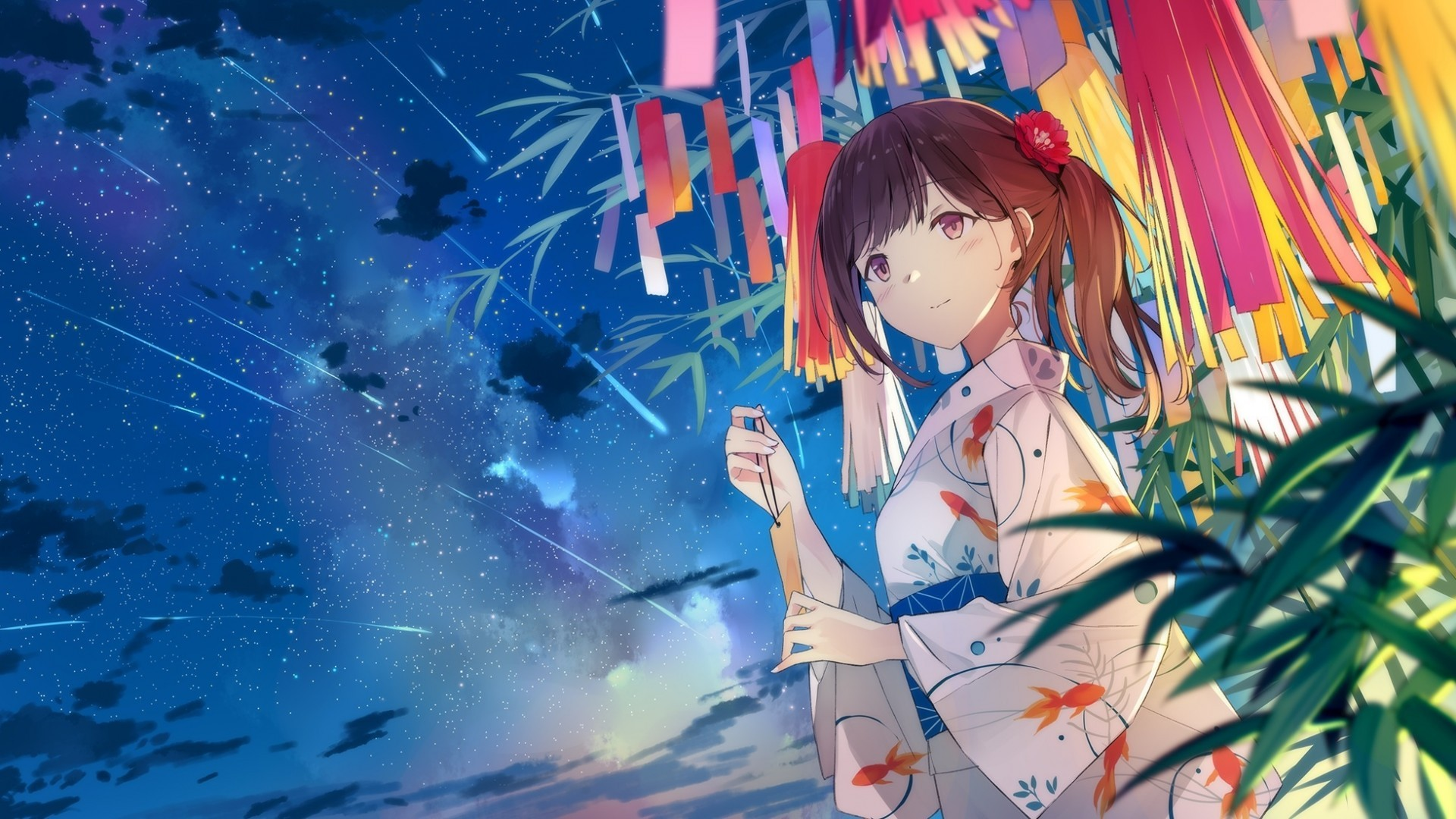 Download 1920x1080 Anime Girl Falling Stars Scenic Yukata 1920x1080