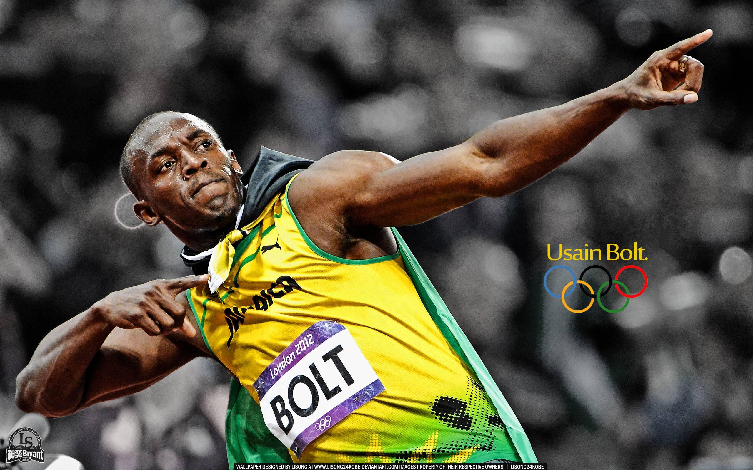 Free Wallpapers - Usain Bolt 2012 Celebrating 2560x1600 wallpaper