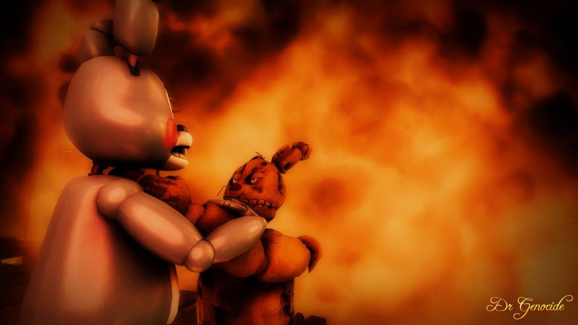 FNAF 3 Springtrap vs Toy Bonnie Wallpaper Scene 1 by DrGenocideSFM on 1191x670