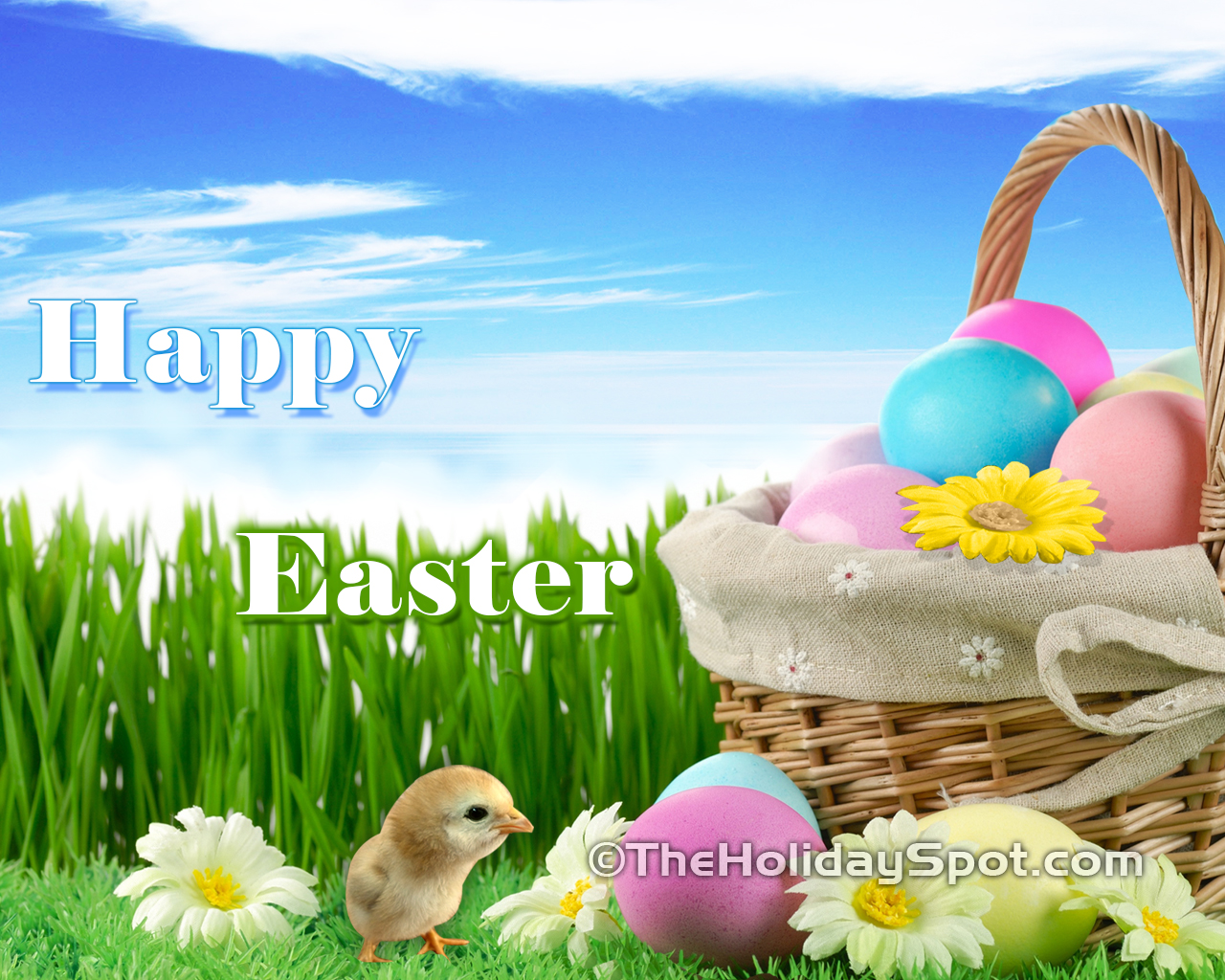 Chicks and Easter baskets with easter eggs 1280x1024