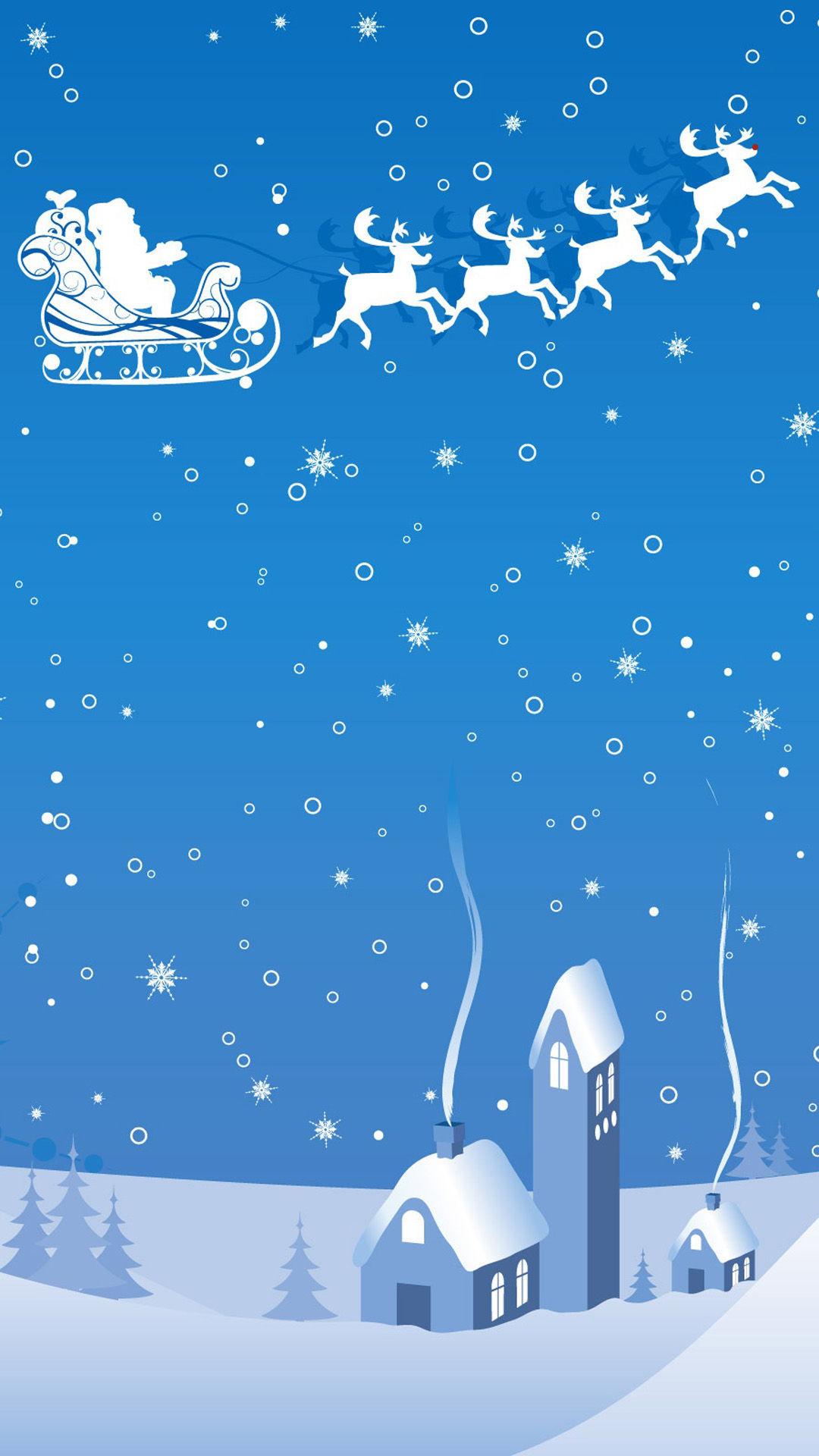 Christmas theme blue background HD samsung galaxy s4 wallpaper 1080x1920