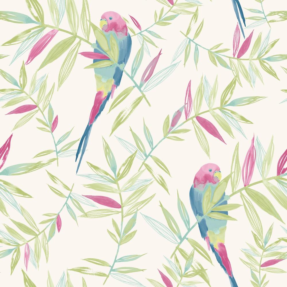 Bird Pattern Tropical Leaf Leaves Painted Motif Wallpaper 209204 1000x1000