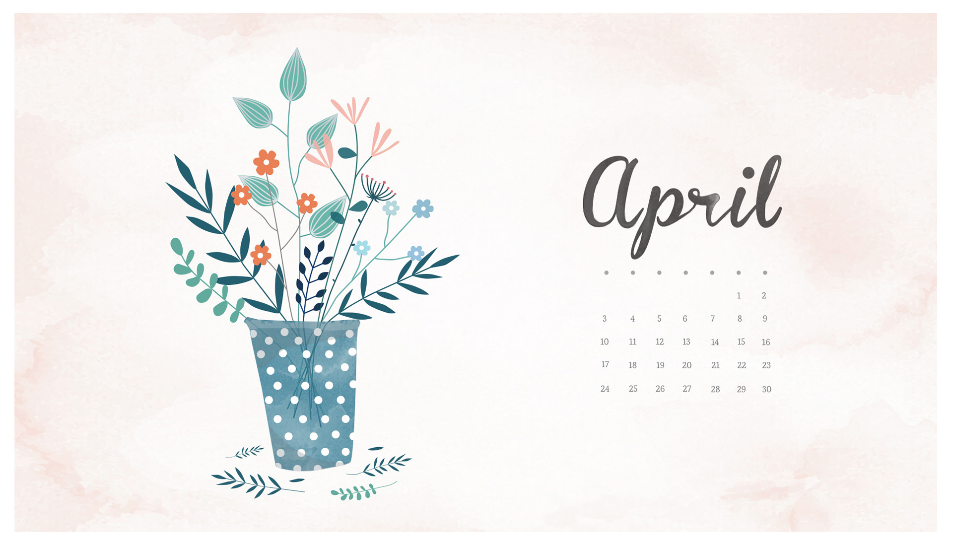 Wallpaper with April 2018 Calendar for PC iPad and SmartPhone 1920x1098
