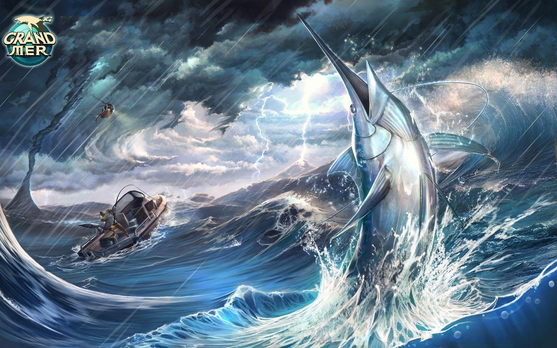 Fish marlin Animals storm ocean sea fishing rain wallpaper 1920x1200