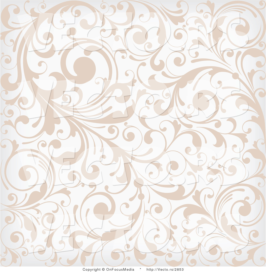 vector of beige and white background pattern with leafy vines by 1024x1044