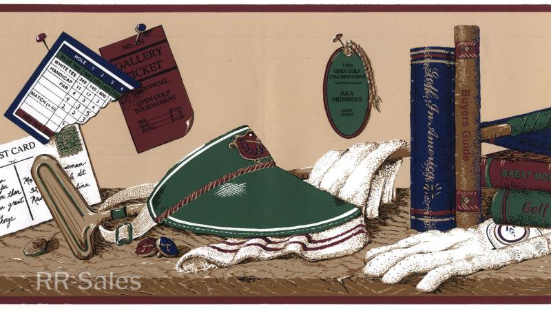 Feet Golf Shelf Man Cave Cap Ball Books Trophy Wallpaper Wall Border 800x451