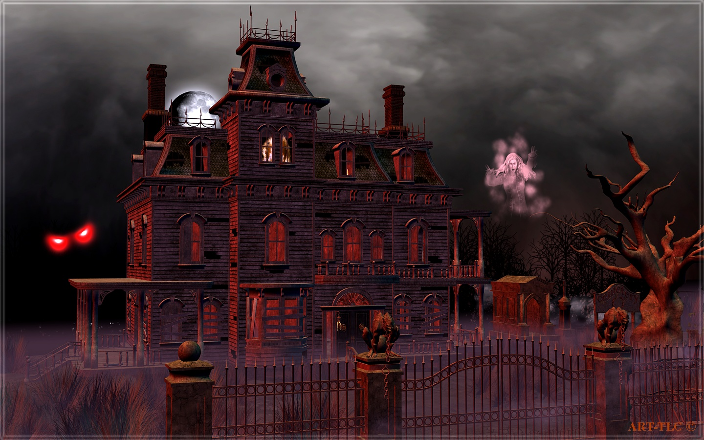 49 animated haunted house wallpaper on wallpapersafari - Scary animated backgrounds ...