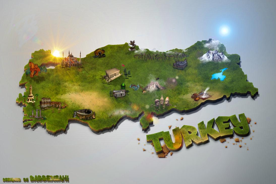 3D Turkey Map v1 Wallpaper by dabbexsahi by dabbex30 1095x730