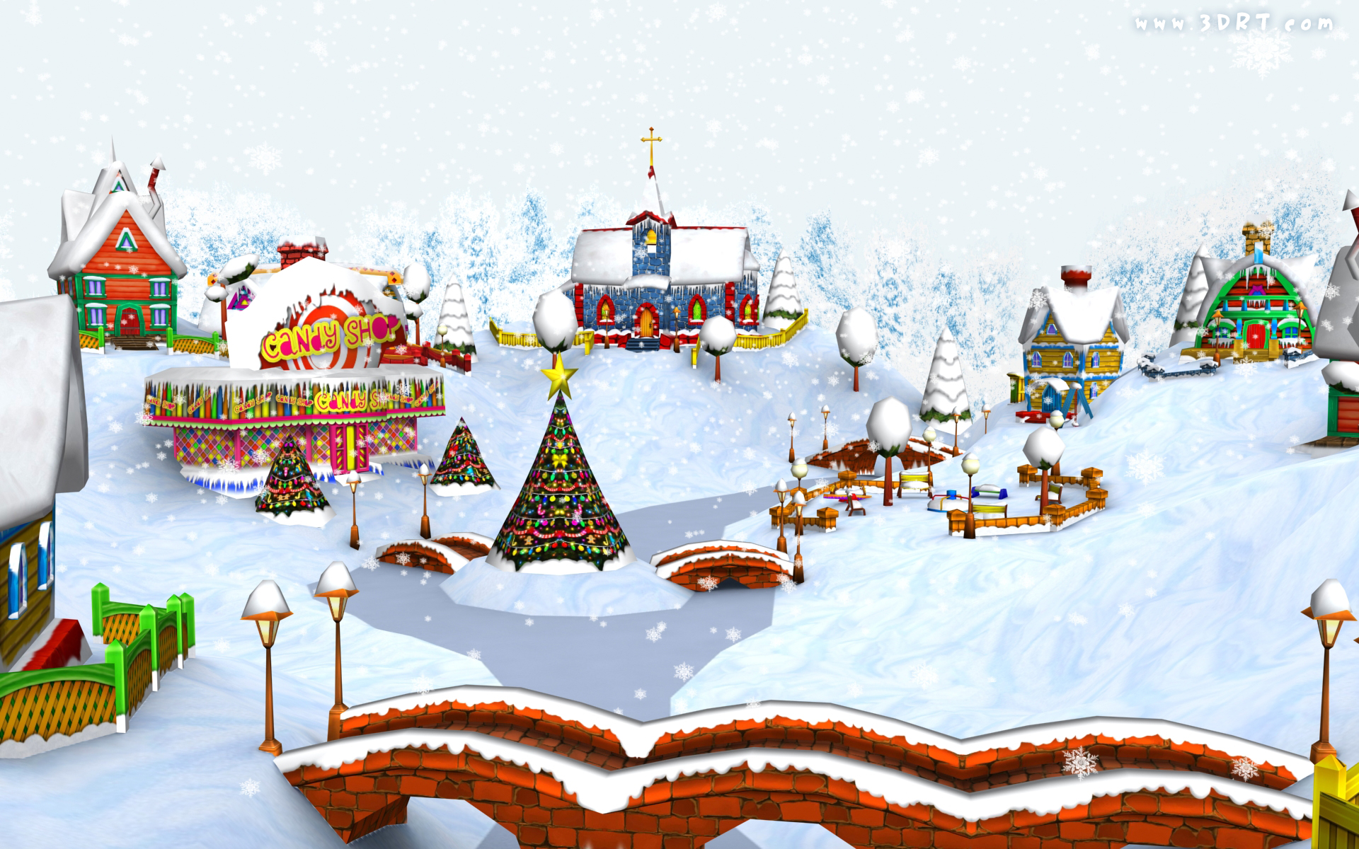 Christmas Cartoon Village wallpaper   28286 1920x1200