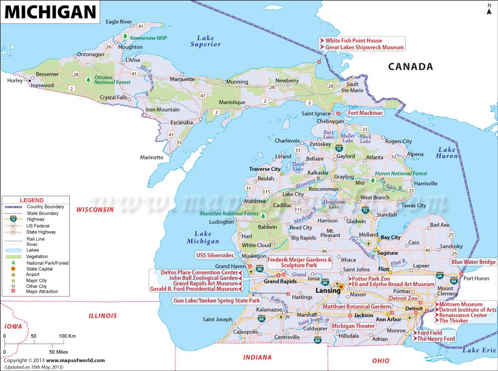 Map Of Michigan Mi State Map 1000x745