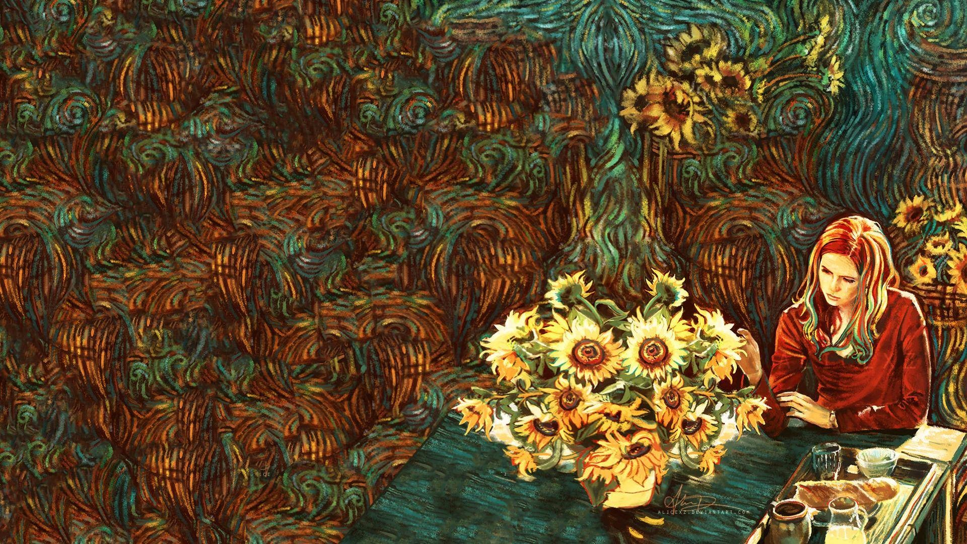 Van Gogh Karen Gillan Amy Pond Doctor Who sunflowers Wallpapers 1920x1080