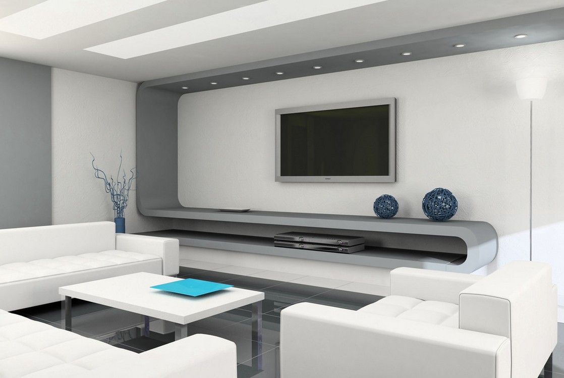 Modern minimalist living room picture gray and white 3D house 1118x749