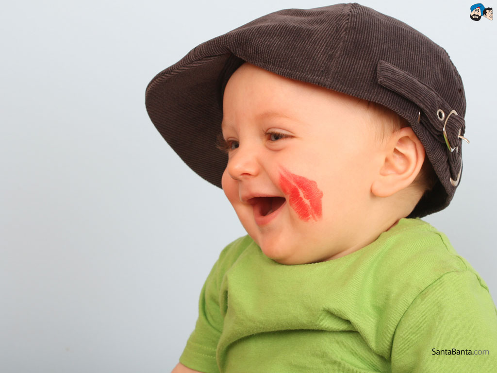 Cute Baby Boy Picture Lipstick On Cheek HD Wallpaper Baby Pictures 1024x768