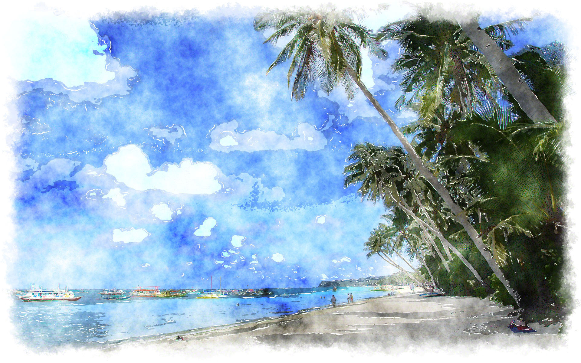 watercolor painting 6 watercolor painting tropical island wallpaper 1920x1200
