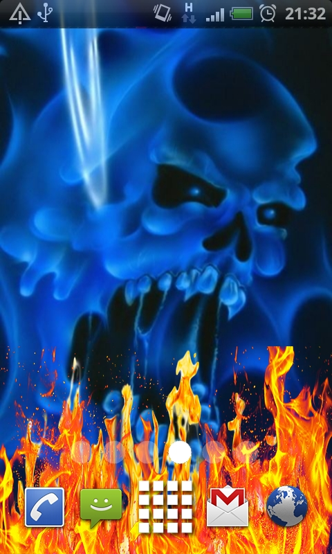 Download Blue Ghost Skull Fire Flames Live Wallpaper for your 480x800