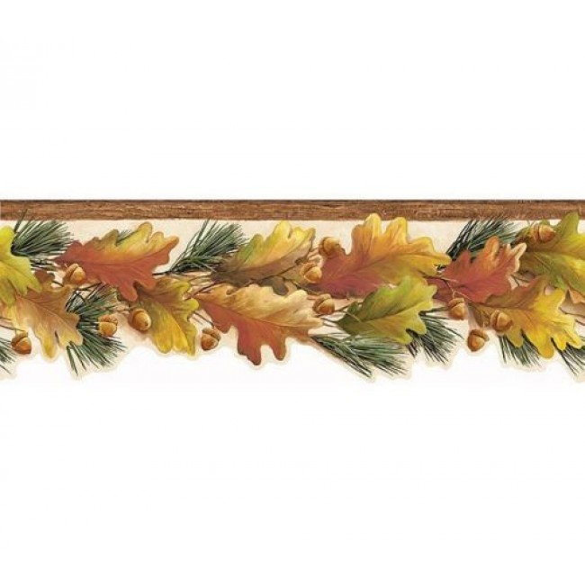 Lodge Fall Autumn Laser Cut Leaves and Acorns Wallpaper Border   All 4 650x650