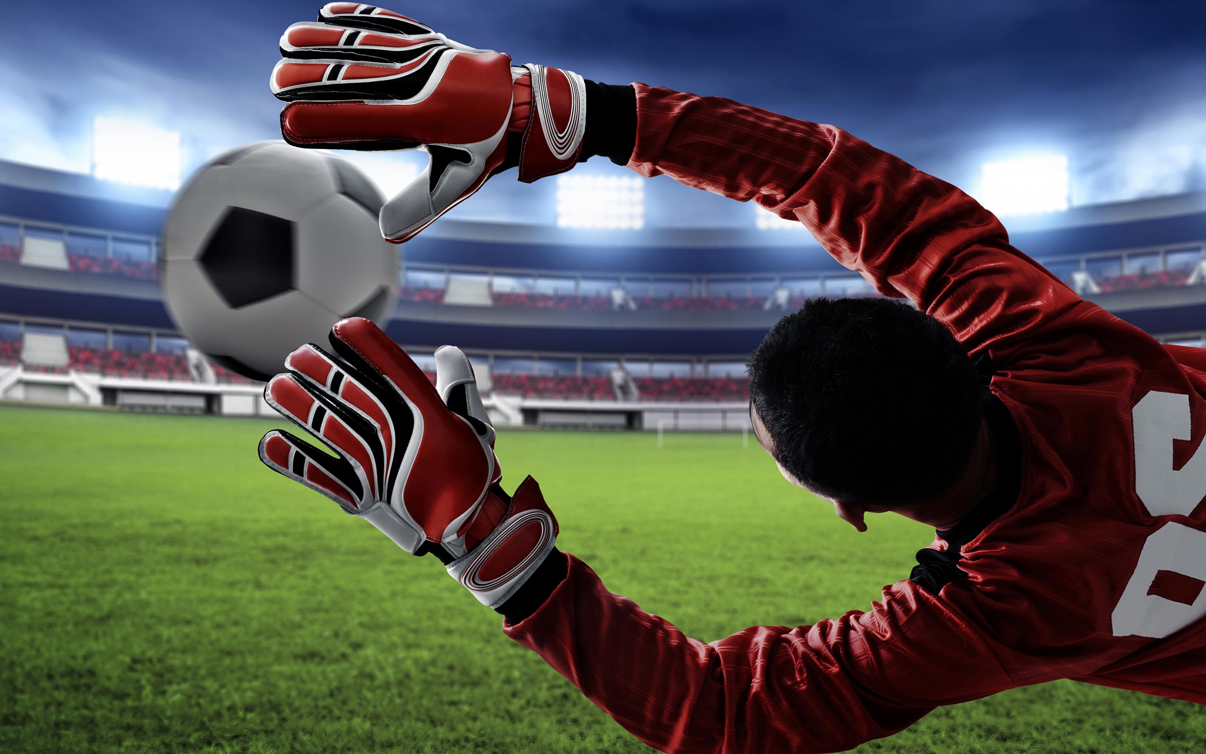 Picture Glove Goalkeeper football sports Footbal Jump 3840x2400 3840x2400