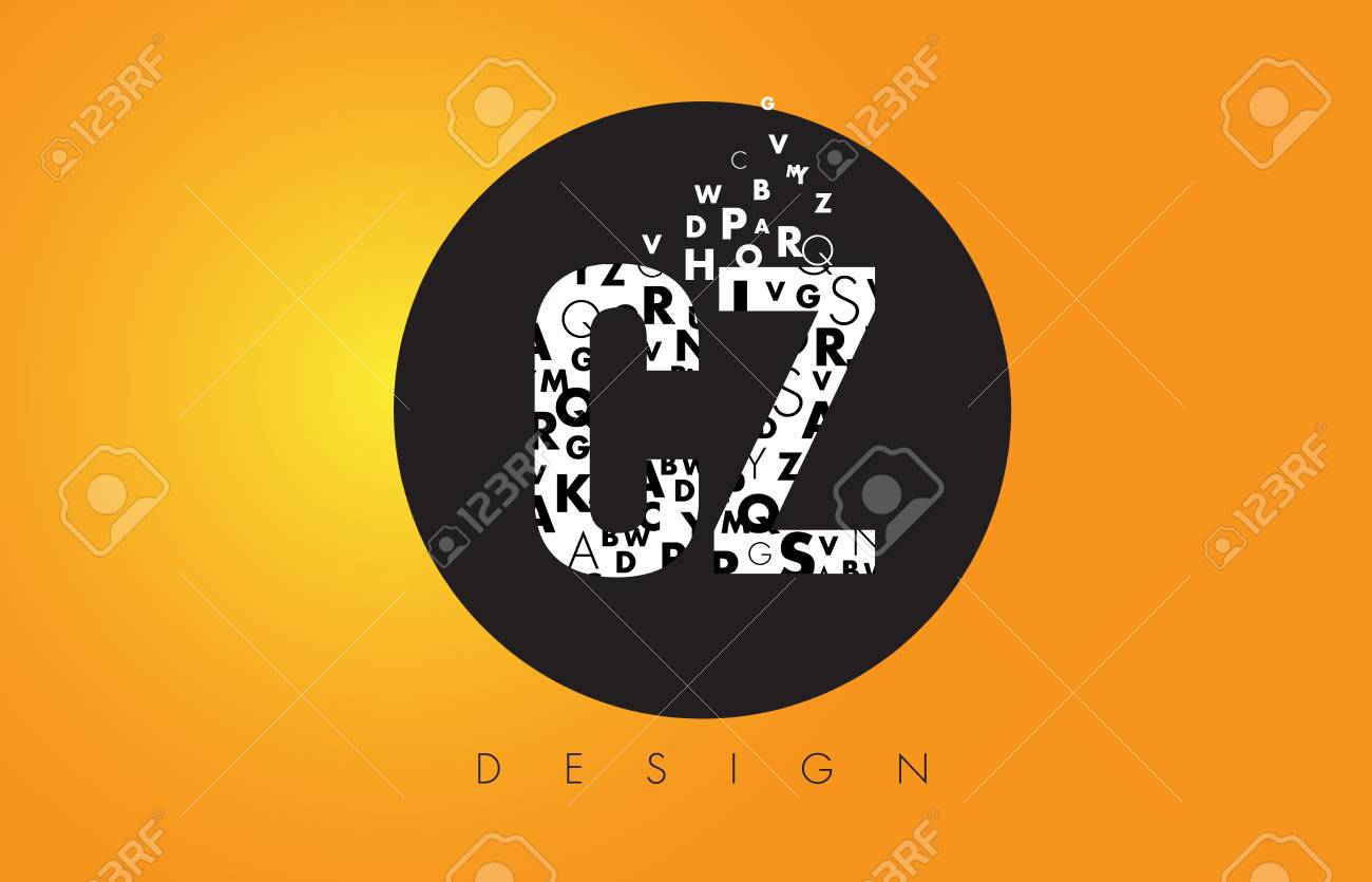 CZ C Z Logo Design Made Of Small Letters With Black Circle And 1300x835