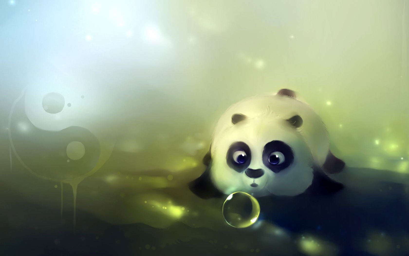 Download Cute panda playing with bubbles wallpaper 1680x1050