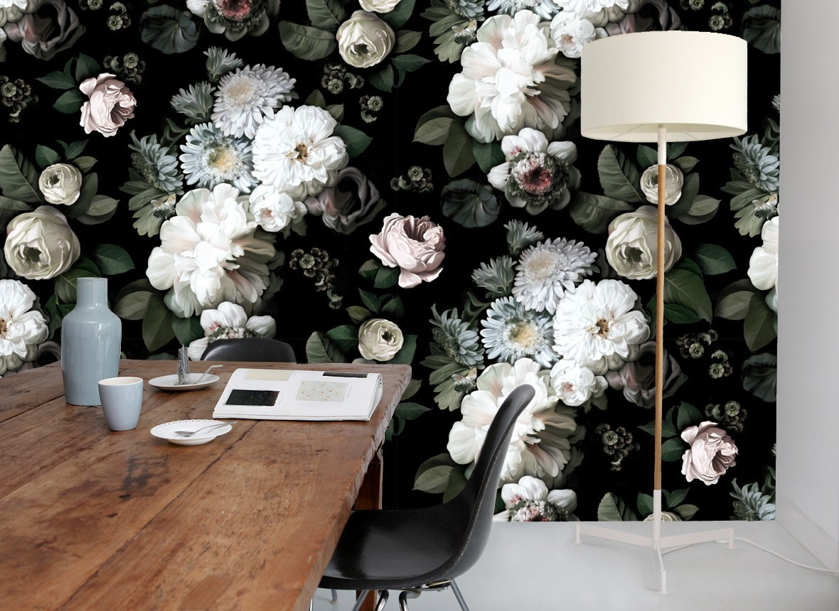 Ellie Cashman Dark Floral Wallpaper on ...