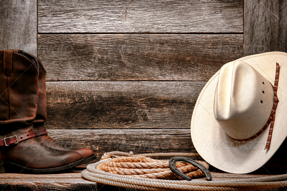 cowboy hat with authentic Western lariat lasso and roper leather boots 590x393