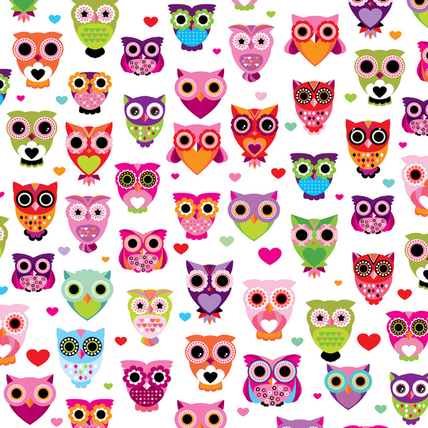 Free Download Cute Colorful Retro Style Owl Illustration