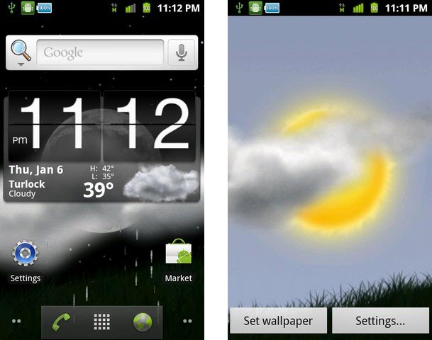 Weather Window Live Wallpaper for Android Phones 609x480