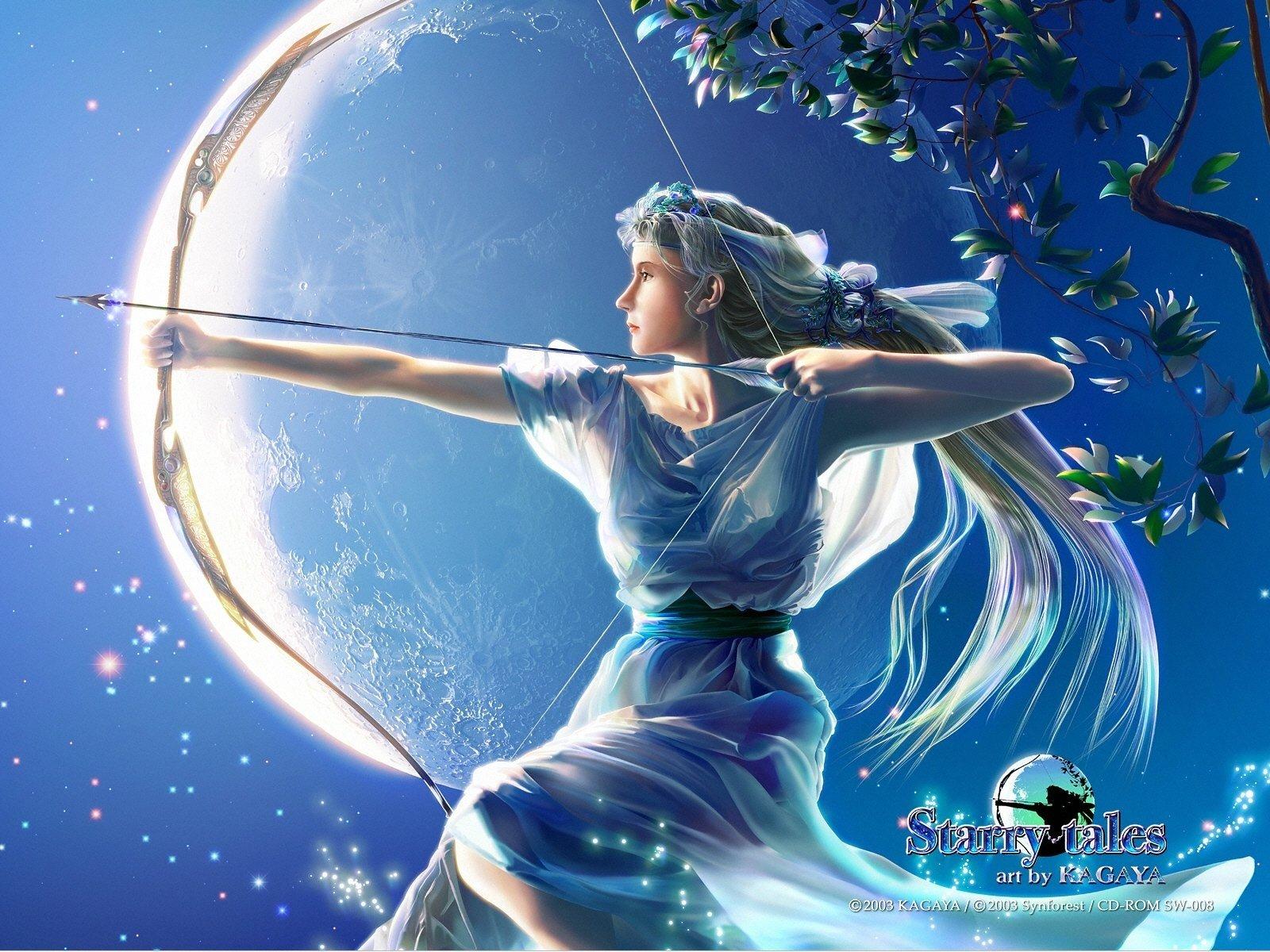fantasy art Goddess Kagaya Yutaka mythology Artemis wallpaper 1600x1200