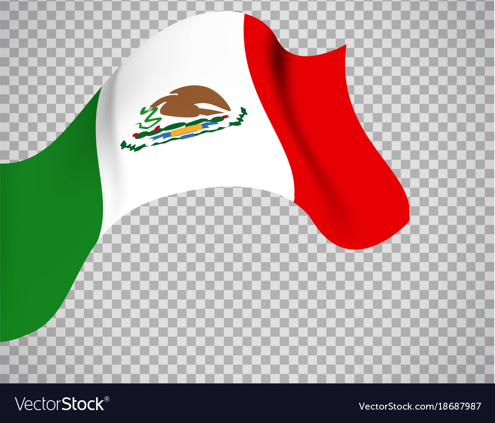 Mexico flag on transparent background Royalty Vector 1000x855