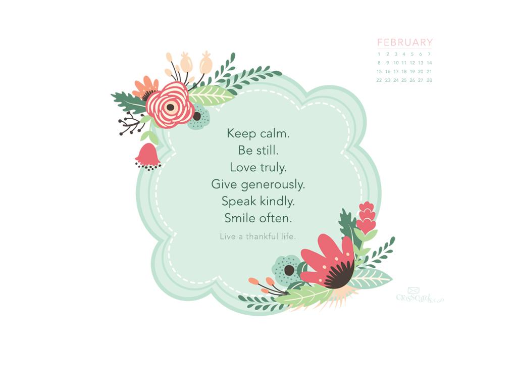 February 2015   Thankful Life Desktop Calendar  Monthly Calendars 1024x768