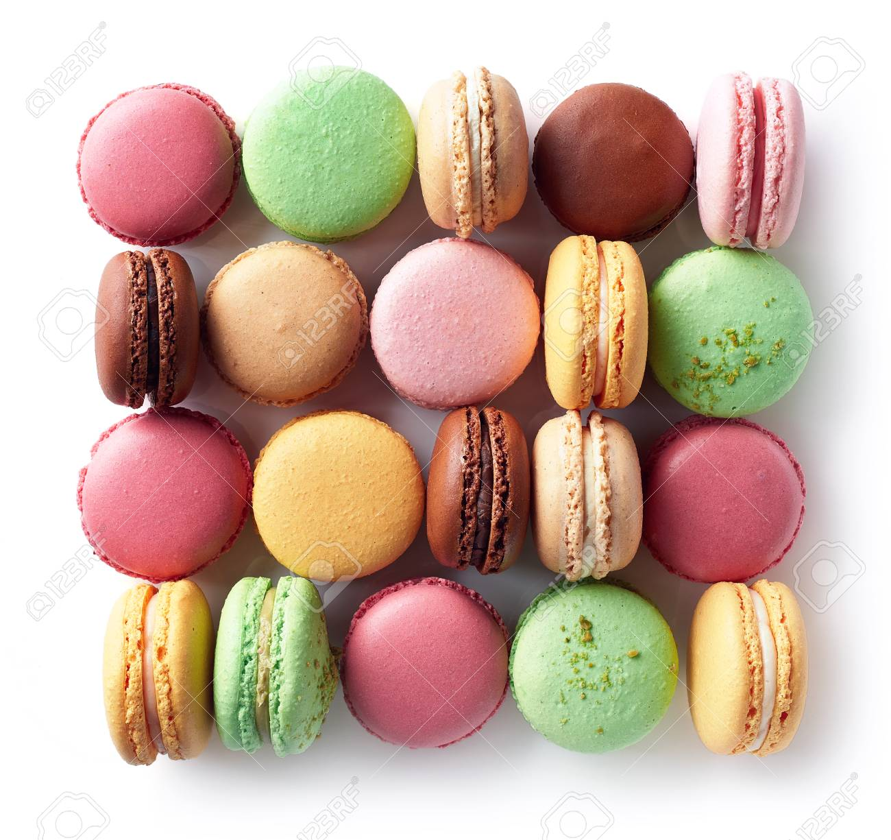 Colorful French Macarons Isolated On White Background Top View 1300x1225