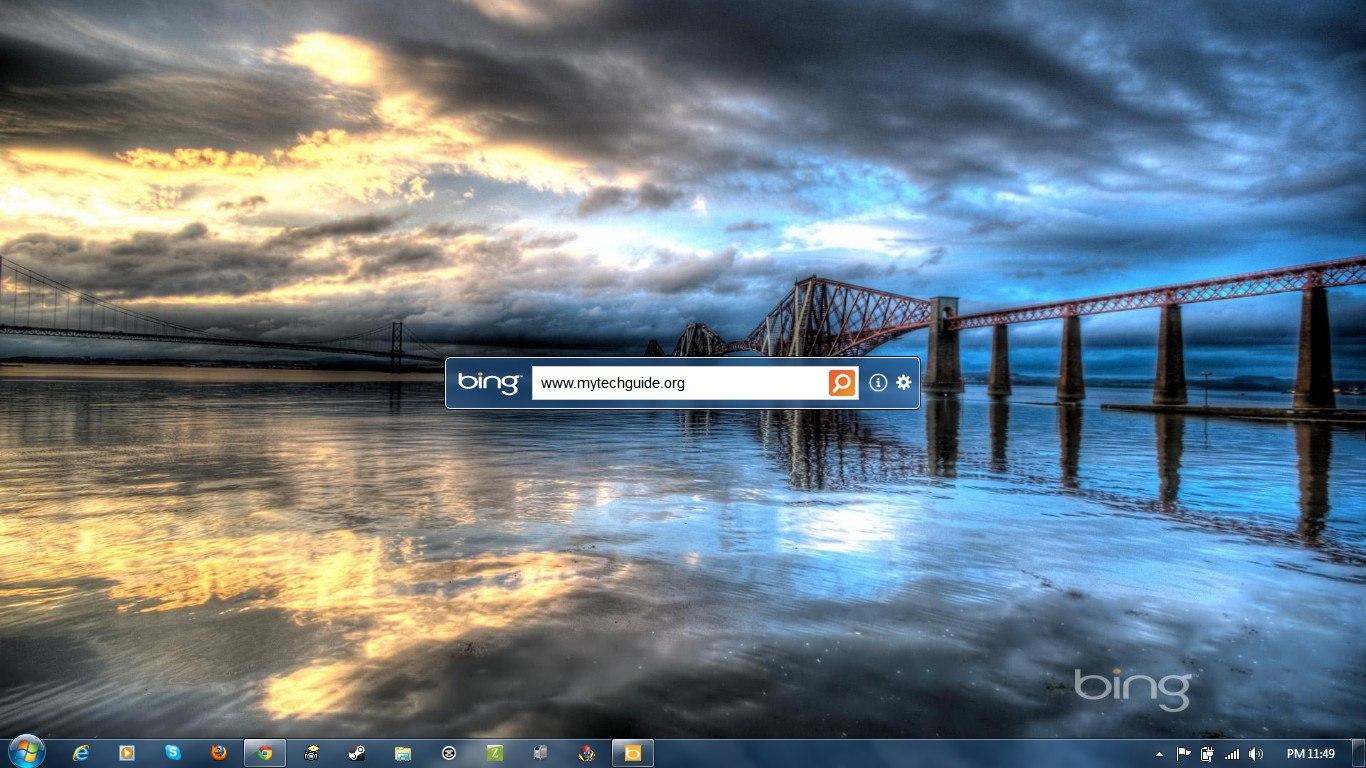 Microsoft Bing Desktop Automatically Sets Bing Background as Wallpaper 1366x768