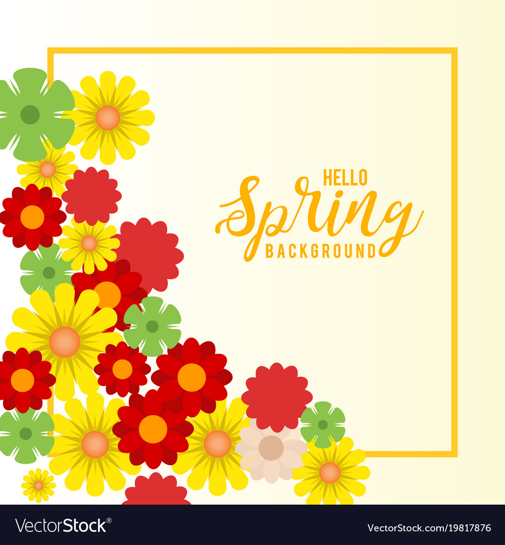 Yellow frame floral spring background Royalty Vector 1000x1080