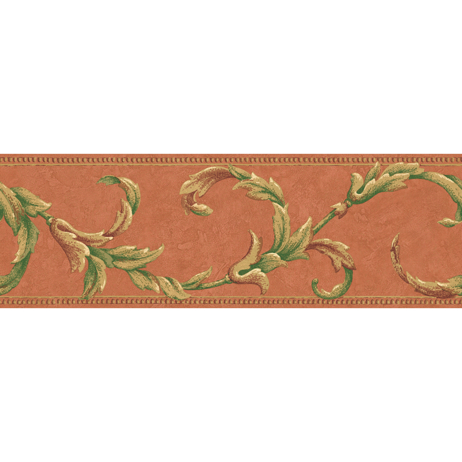 roth 6 78 Orange Leaf Scroll Prepasted Wallpaper Border at Lowescom 900x900