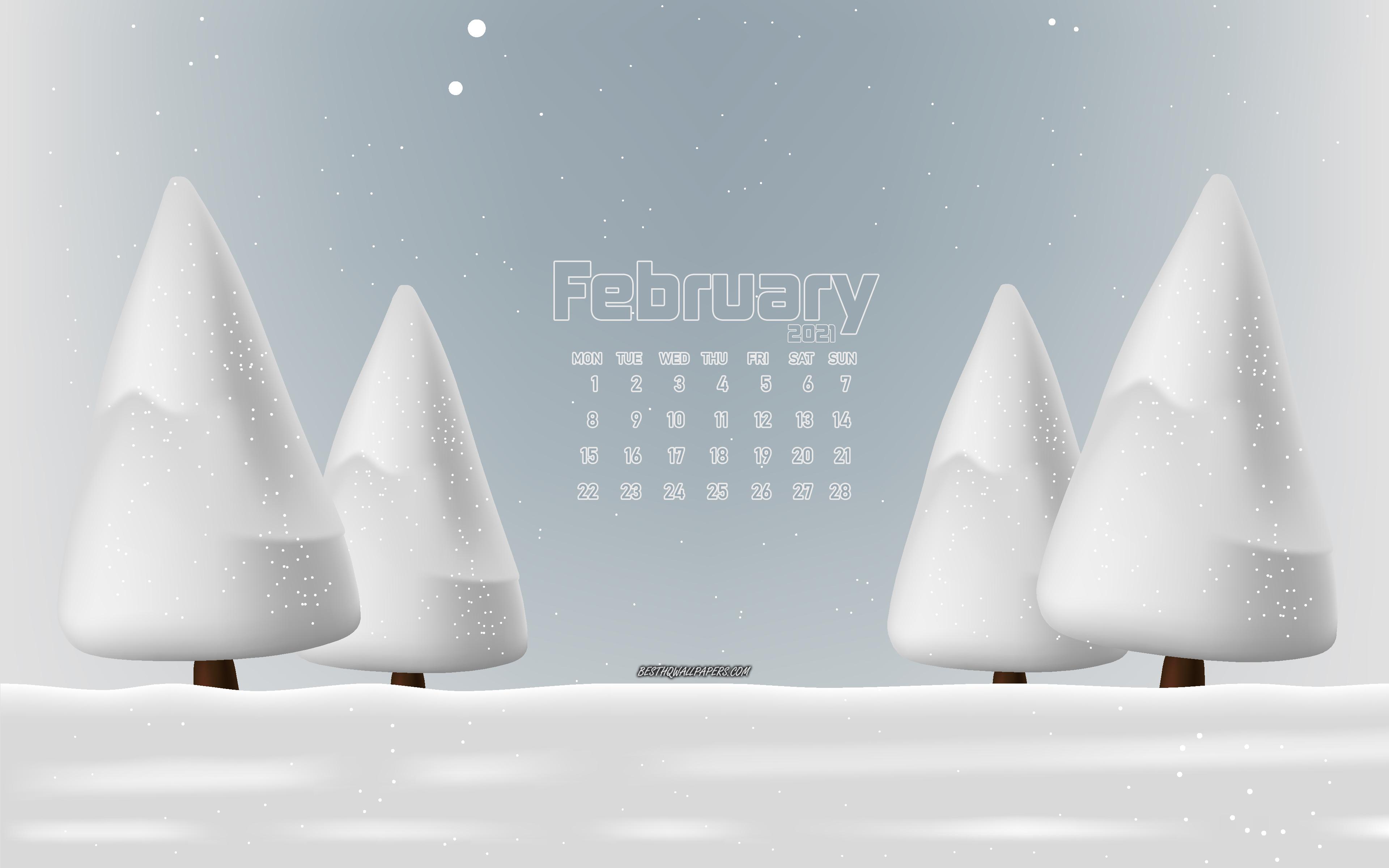 Download wallpapers 2021 February calendar 4k winter landscape 3840x2400