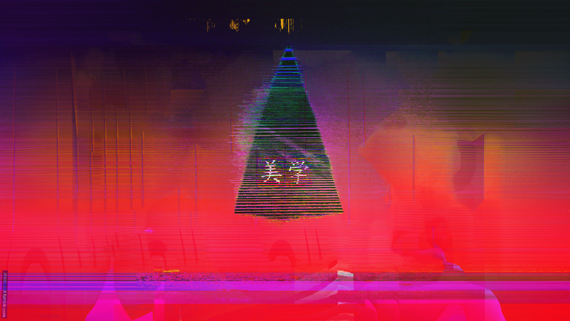 Glitch Neon Aesthetic Japan Triangle Abstract [1920x1080] wallpapers 1920x1080