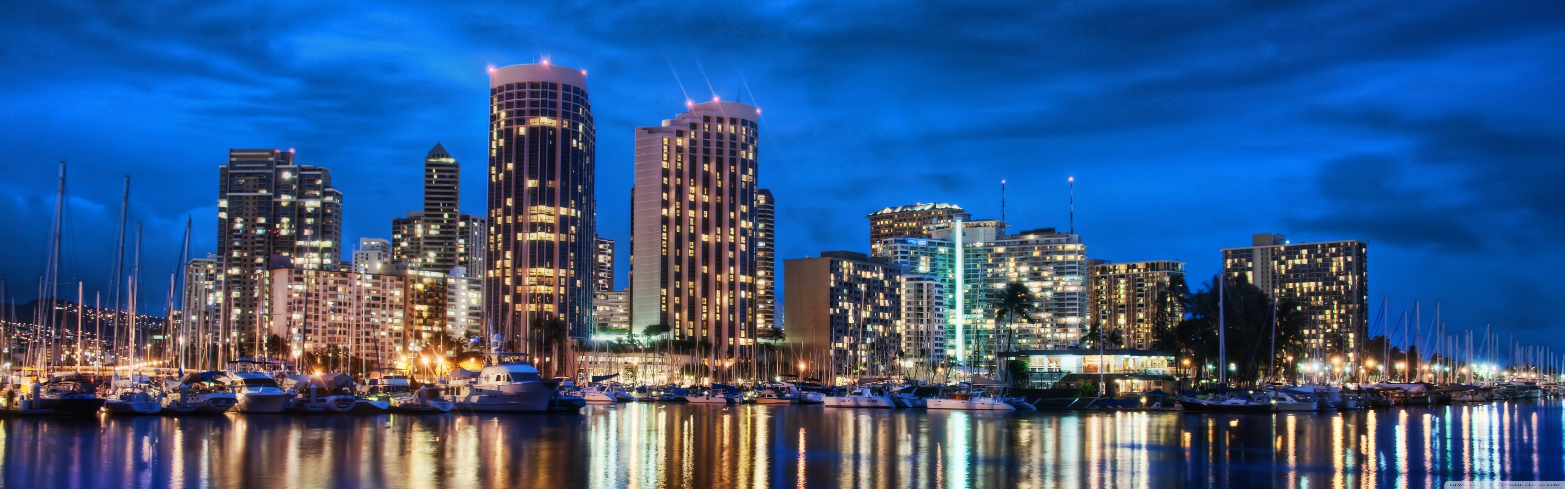 Waikiki Skyline At Night 4K HD Desktop Wallpaper for 4K Ultra 5120x1600