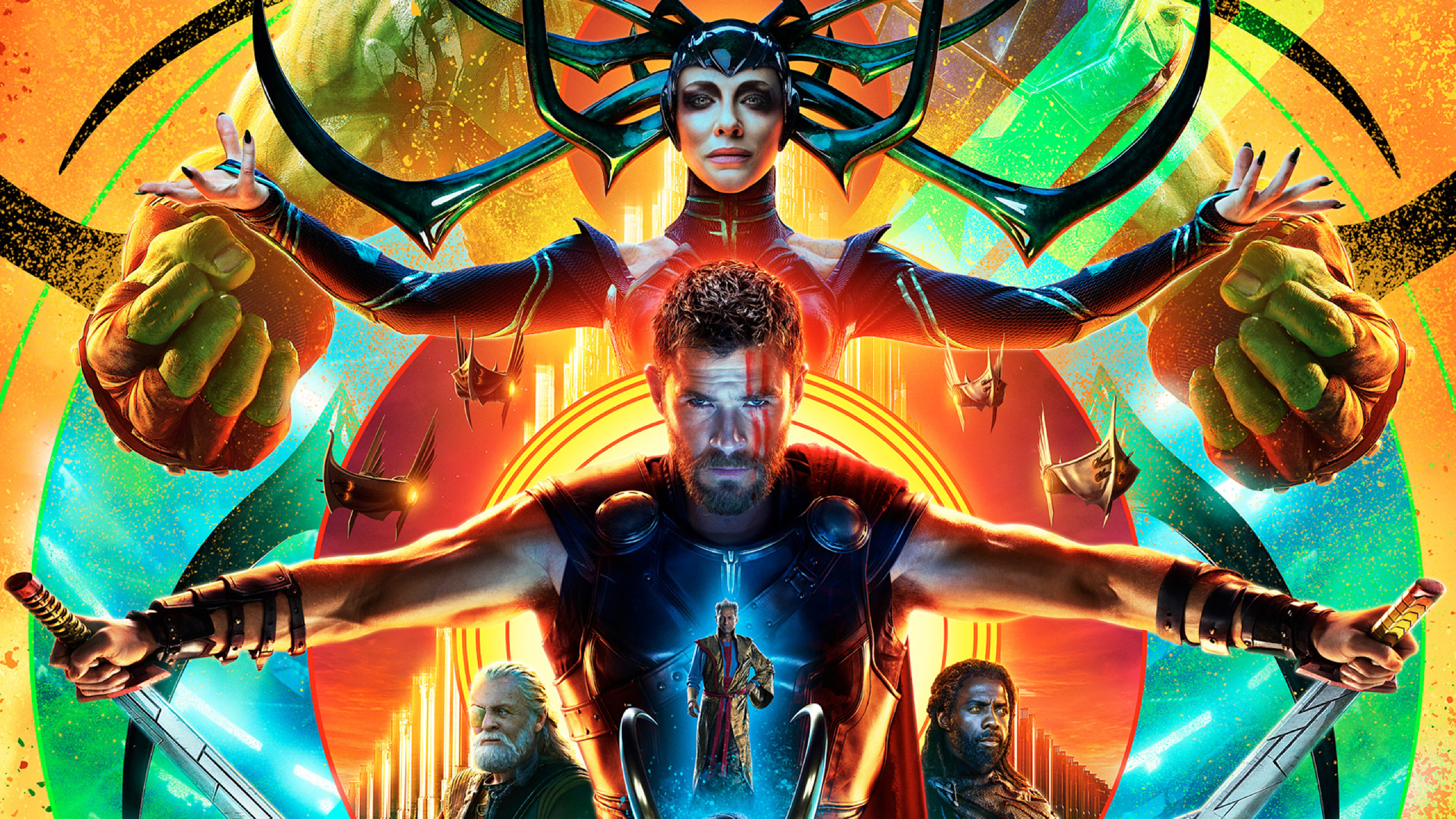 2560x1440 Hulk Hela Thor In Thor Ragnarok Poster 1440P Resolution 2560x1440