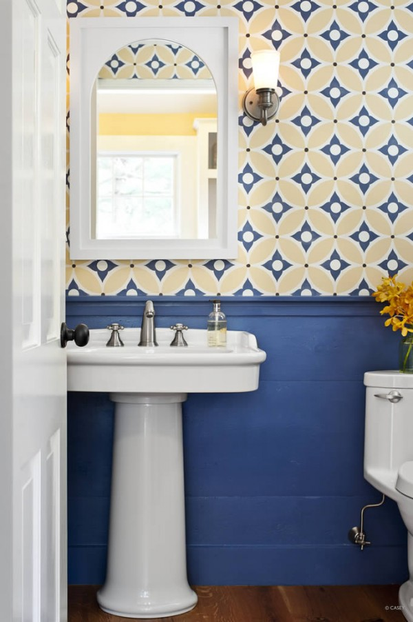 Yellow And Blue Bathroom Wallpaper For The Powder Room Inspired 600x902