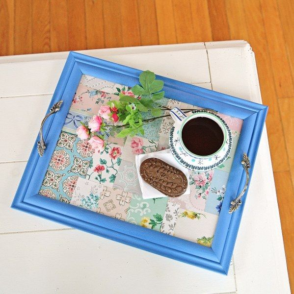 DIY Vintage Wallpaper Tray Re Purposing Pinterest 599x600