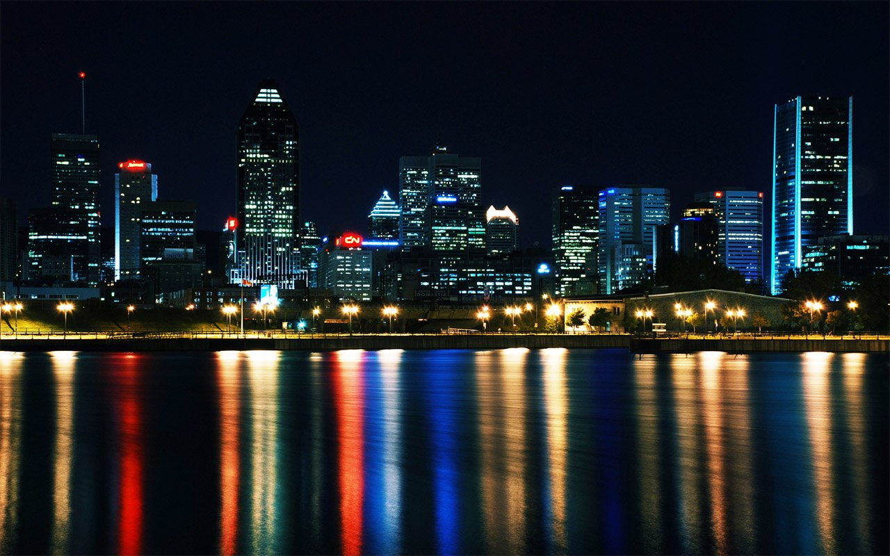 city lights at night water reflected HD Wallpaper   City Town 1280x800